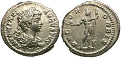 Ancient Coins - Caracalla (AD 198-217) AR Denarius / Sol