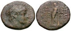 Ancient Coins - Seleukid Kings. Antiochos XII Dionysos Æ20 / Apollo