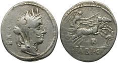 Ancient Coins - 102 BC - Roman Republic. C. Fabius C.f. Hadrianus AR Denarius / Victory in Biga