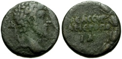 Ancient Coins - Lucius Verus, Syria, Cyrrhestica Hieropolis Æ21 / Wreath
