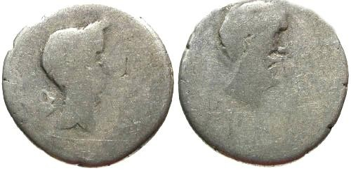Ancient Coins - aF/aF Julius Caesar and Mark Antony Dual Portrait Denarius