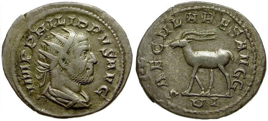 Ancient Coins - Philip I AR Antoninianus / Saecular Games Issue