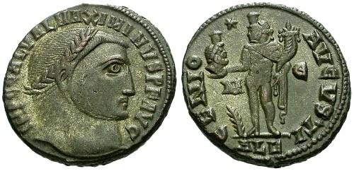 Ancient Coins - EF/EF Maximinus II Silvered AE3 / Genius