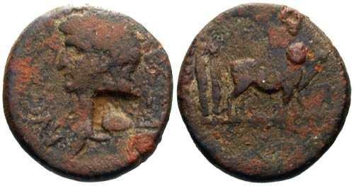 Ancient Coins - F/F Augustus AE16 of Mysia Parium / Capricorn Counterstamp
