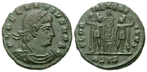 Ancient Coins - VF/VF Delmatius AE4 / Soldiers with standard