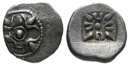 Ancient Coins - VF/VF Macedonian AR Trihemiobol / Shield RR