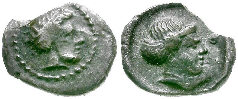 Ancient Coins - Cilicia. Nagidos AR Obol / Dionysos and Aphrodite
