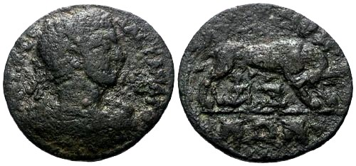 Ancient Coins - F/F+ Severus Alexander Lydia Thyatira AE24 / She-wolf and twins