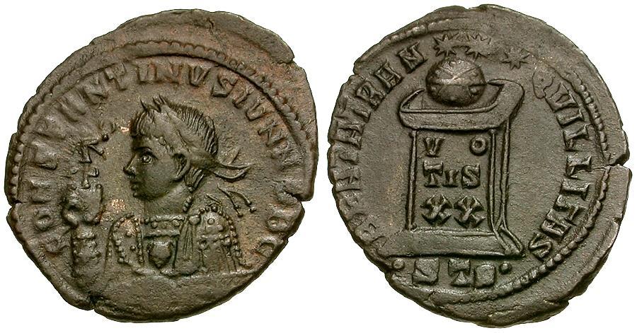 Ancient Coins - Constantine II as Caesar Æ3 / Globe on Altar