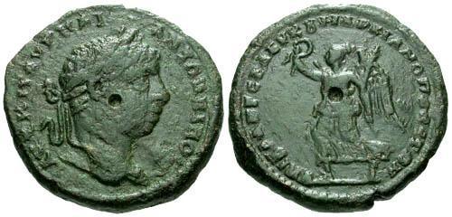 Ancient Coins - aVF/aVF Elagabalus AE26 Marcianopolis / Victory