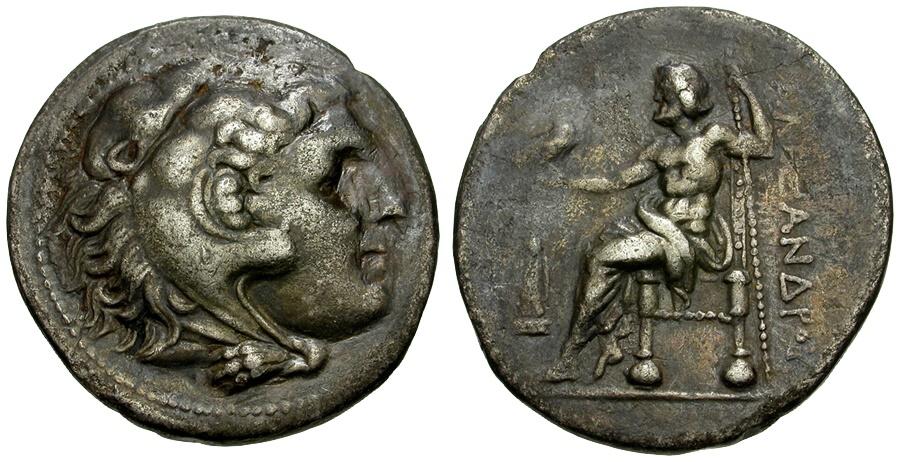 Ancient Coins - Kings of Macedon. Alexander III the Great AR Tetradrachm / Cult Statue