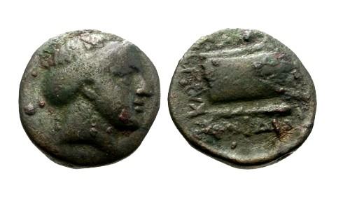 Ancient Coins - gF+/gF+ Caria Knidos AE13 / Aphrodite / Prow