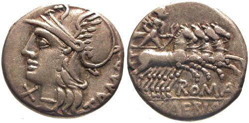 Ancient Coins - 137 BC / VF/aVF Baebia 12 Roman Republic Denarius / Apollo in quadriga