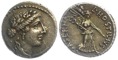 Ancient Coins - 48 BC EF/EF Hostilius 23 Roman Repubic AR Denarius of L. Hostilius Saserna