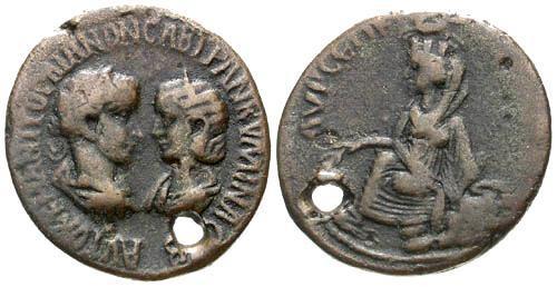 Ancient Coins - gF/gF Provincial AE 32 of Gordian III Singara Mesopotamia / Holed