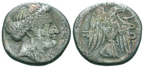 Ancient Coins - F/F Euboea Chalcis AR Drachm / Eagle