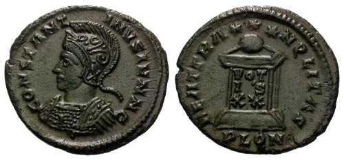 Ancient Coins - gVF Constantine II AE3 / Globe on Altar