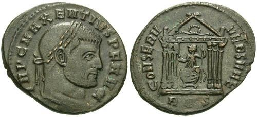 Ancient Coins - aVF/aVF Maxentius Follis / Roma in Temple