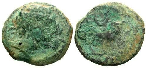 Ancient Coins - F+/aF Ae Semis of Castulo Spain / Bull