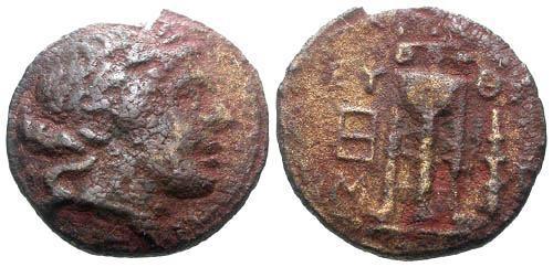 Ancient Coins - F/F Peleponnesus Argos AE15 / Apollo and Tripod