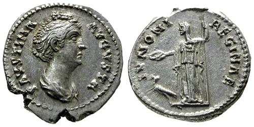 Ancient Coins - VF/VF Faustina I Denarius / Juno