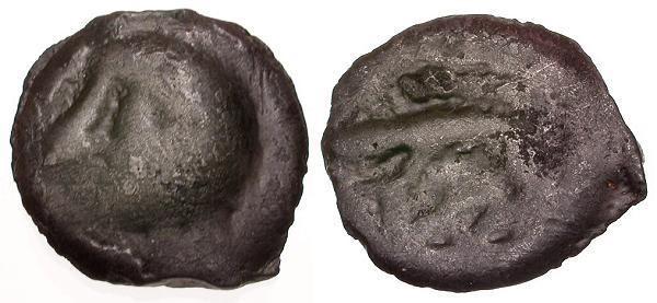Ancient Coins - VF/VF Ancient France Celtic Gaul Leuci Tribe Potin / Bald Head and Boar
