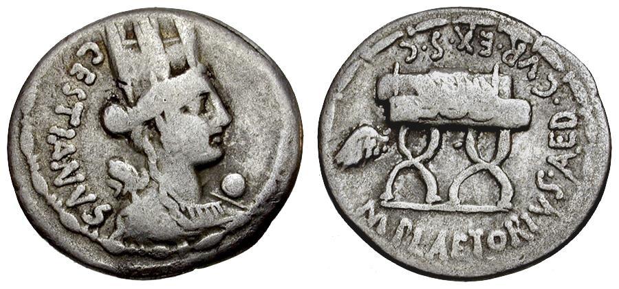 Ancient Coins - 67 BC - Roman Republic.  M. Plaetorius Cestianus AR Denarius / Cybele & Curule Chair