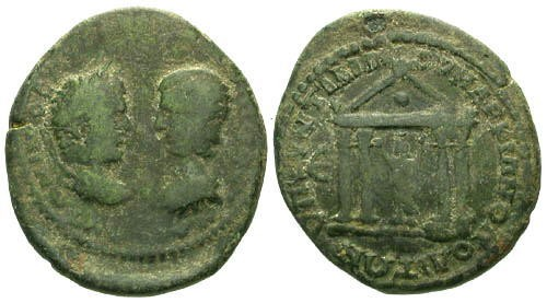 Ancient Coins - gF/ gF Caracalla and Julia Domna AE30 / Temple with Serapis