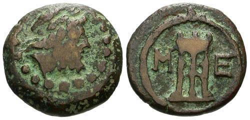 Ancient Coins - VF/VF Messene Messenia AE / Tripod