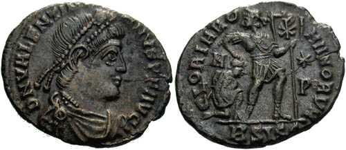 Ancient Coins - aEF Valentinian I AE3, Valentinian dragging captive while holding labarum