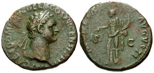 Ancient Coins - aVF/gF Domitian as Augustus AS / Moneta