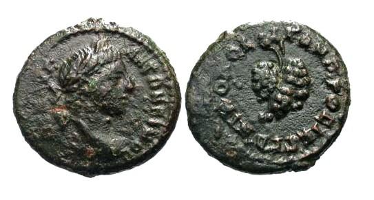 Ancient Coins - VF/VF Elagabalus AE17 Nicopolis / Grapes