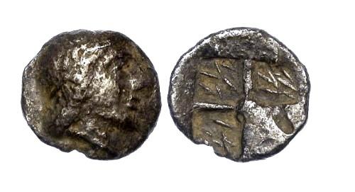 Ancient Coins - VF/VF Ionia Kolophon AR Hemiobol / Bust