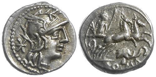 Ancient Coins - 128 BC EF/EF Caecilia 38 Roman Republic AR Denarius Elephant head with bell