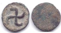 Ancient Coins - INDO-GREEK TAXILA LOCAL GUILD AE 1/16 KARSHAPANA