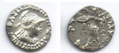 Ancient Coins - INDO-GREEK MENANDER AR DRACHM PANJHIR