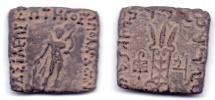 Ancient Coins - INDO-GREEK APOLLODOTUS II AE HEMIOBOL OBOL JAMMU
