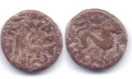 Ancient Coins - INDO-SCYTHIAN MAHAKSATRAPA RAJUVULA LEAD TRI-CHALKOUN JAMMU
