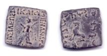 Ancient Coins - INDO-GREEK MENANDER II AE HEMIOBOL