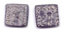 Ancient Coins - INDO-GREEK MENANDER AE HEMIOBOL RARE!