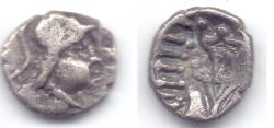 Ancient Coins - INDO-GREEK NOMAD IMMITATION OF EUCRATIDES AR OBOL VERY RARE!