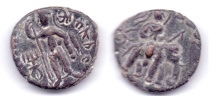Ancient Coins - KUSHAN EMPIRE HUVISHKA AE TETRADRACHM PUSHKALAVATI EXCITED SHIVA RARE!