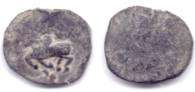 Ancient Coins - INDO-GREEK TAXILA GUILD AE 1/3 KARSHAPANA RARE & UNLISTED