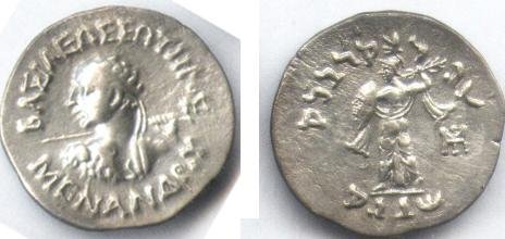 Ancient Coins - INDO-GREEK MENANDER AR DRACHM TAXILA-PUSHKALAVATI