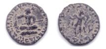 INDO-SCYTHIAN AZES AE CHALKOUS SEATED KING / HERMES
