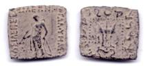 Ancient Coins - INDO-SCYTHIAN MAUES AE HEMIOBOL TAXILA-PUSHKALAVATI