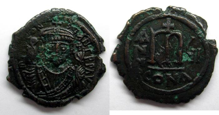 Ancient Coins - Tiberius II Constantine: AE Folles, Constantinople mint