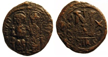 Ancient Coins - Justin II, AE Folles; Nicomedia, cross between heads variety