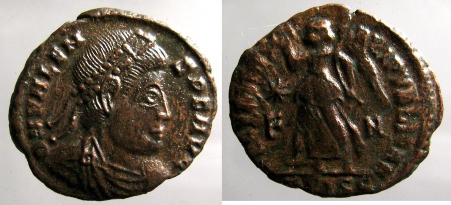 Ancient Coins - Valens: AE 3, Siscia, Victory reverse
