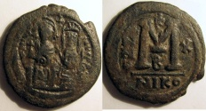 Ancient Coins - Justin II: AE Folles, Mint of Nicomedia